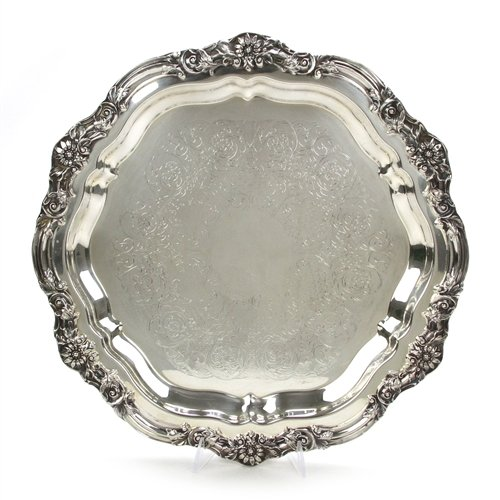 Round Tray by F. B. Rogers, Silverplate, Chased, Footed