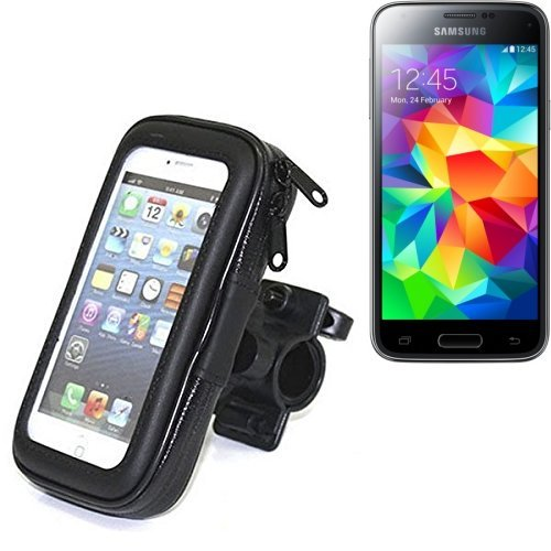 K-S-Trade® Fahrrad Halterung Für Samsung Galaxy S5 Mini Handyhalterung Halter Lenkstange Fahrradhalterung Motorrad Bike Mount Wasserabweisend Regensicher Schwarz (1x)
