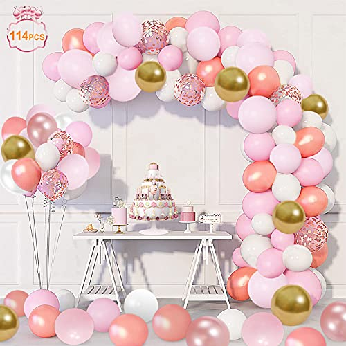 114 Pezzi Palloncini Kit Ghirlanda Rosa e Oro Confetti Palloncini Lattice,Rosa Palloncini Compleanno per Battesimo Bambino, Anniversario, Matrimonio, Decorazione Compleanno per Feste