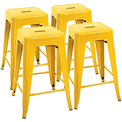 Devoko Metal Bar Stools 24' Indoor Outdoor Stackable Barstools Modern Style Industrial Vintage Counter Bar Stools Set of 4 (Yellow)