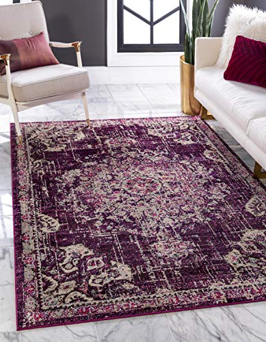 Unique Loom Penrose Collection Traditional Vintage Distressed Purple Area Rug (9' 0 x 12' 0)