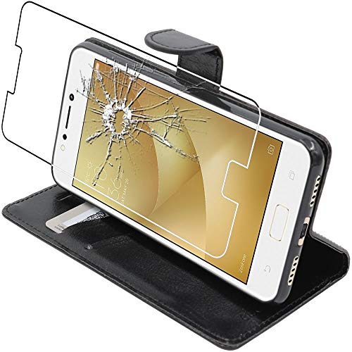 ebestStar - kompatibel mit Asus Zenfone 4 Max Hülle ZC520KL Kunstleder Wallet Hülle Handyhülle [PU Leder], Kartenfächern Standfunktion, Schwarz +Panzerglas Schutzfolie [Phone: 150.5x73.3x8.8mm, 5.2'']
