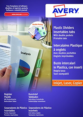 AVERY - Double pochettes intercalaires à onglets personnalisables et imprimables, 12 touches, Format A4+ (permet de classer des pochettes perforées), En polypropylène coloré translucide