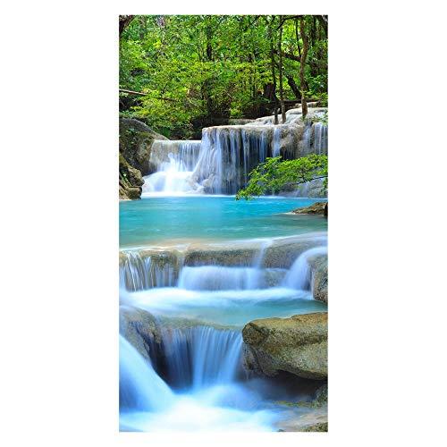 wandmotiv24 Türtapete Wasserfall im Wald 100 x 200cm (B x H) - Dekorfolie selbstklebend Tapete, Tür-Aufkleber, Türbild, Wandbild M0485