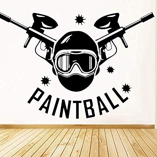 Adhesivo de pared de paintball, decoración del hogar, sala de estar, deportes extremos, vinly, calcomanías de pared, cabecera de habitación para adolescentes, decoración de armario, 60 * 42Cm