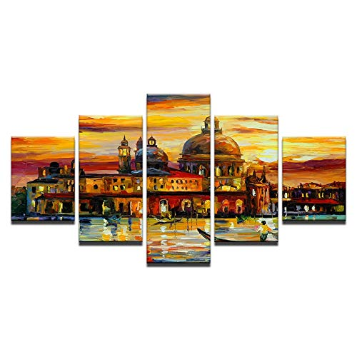 5 Canvas paintings Living Room HD Printed Decoration Posters Modern Wall The Golden Skies Of Venice Home Art Pictures Painting Frameless