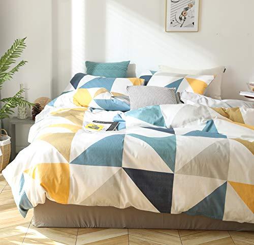 GETIYA Bettwäsche 135x200 2 Teilig Blau Gelb Dreieck Muster Bettwäsche Jungen Mädchen Geometrische Bettwäsche Baumwolle Zweiteilig Deckenbezug Wendebettwäsche mit Reißverschluss und Kissenbezug 80x80