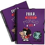 Mafalda 39822438. Carpeta de Fundas A4 con Espiral, Colección Mafalda Mundo, Tapas Polipropileno...