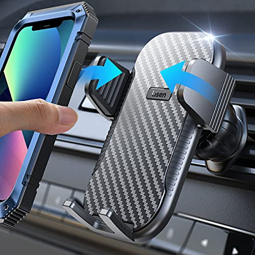 LISEN Car Phone Holder Mount, [2021 Upgrade Hook] Phone Mount for Car Vent [Never Fall Off] Universal Car Cell Phone Holder [Thick Case Friendly] iPhone Holder for Car Compatible with All Smartphones