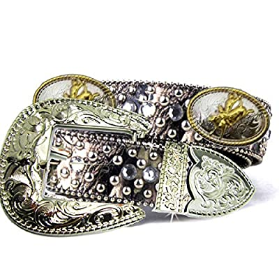 Green Camo Fabric Bling Rhinestone Nail Studded Golden and Silver Conchos Cowgirl Camouflage Clear Crystal Belt for Women (Bull Ridder with Bull Buckle)
