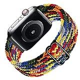 Ouwegaga Braided Solo Loop Compatible con Apple Watch Correa 38mm 40mm 42mm 44mm, Correa de Repuesto Deportiva de Nailon Elástico para iWatch Correa Series 6/SE/ 5/4/3/2/1, 38mm/40mm Vistoso(Patented)