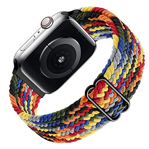 Ouwegaga Braided Solo Loop Compatible con Apple Watch Correa 38mm 40mm 42mm 44mm, Correa de Repuesto Deportiva de Nailon Elástico para iWatch Correa Series 6/SE/ 5/4/3/2/1, 42mm/44mm Vistoso(Patented)