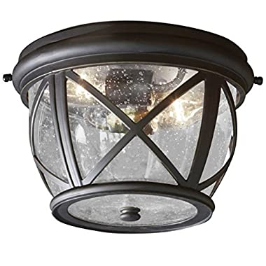 Allen Roth Castine 10.9-in W Rubbed Bronze Outdoor Flush-Mount Light