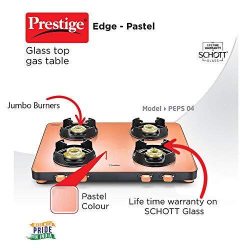 Prestige Edge Glass Gas Stove Gas Table PEPS 04 - Pink, Pastel, Manual, 4 Burner