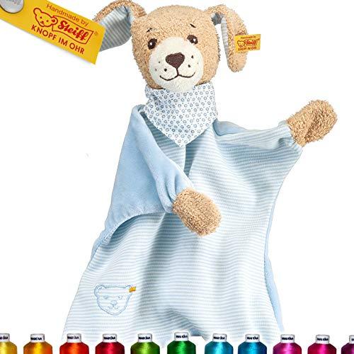 Steiff Gute Nacht Hund Schmusetuch Bestickt mit Namen für Baby & Kinder personalisiert, Junge, Kuscheltuch 30 cm, 239694, Blau