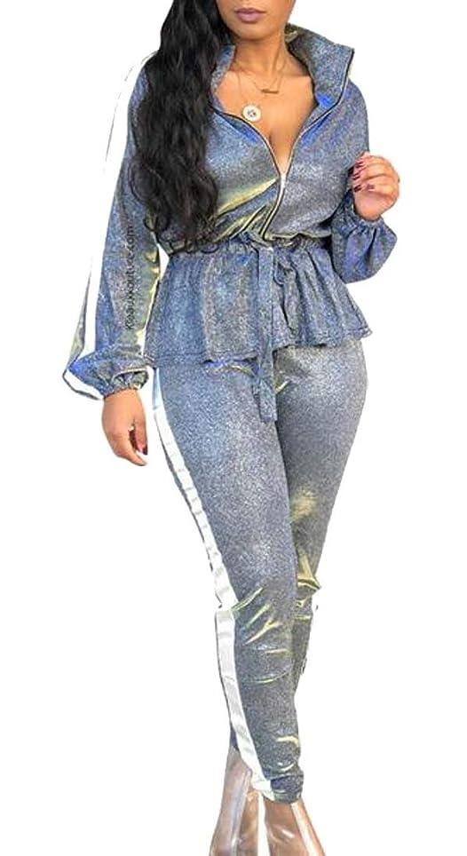 山積みのいじめっ子静的女性のセクシーな2ピースグリッタートップスボディコンパンツパーティートラックスーツ衣装セット