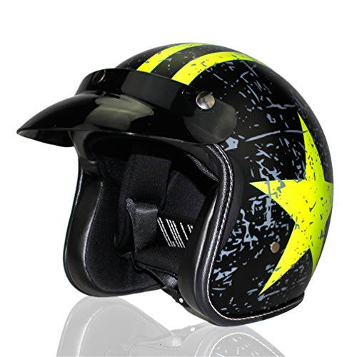 Qianliuk Moto MotorradHelme Vintage Motorrad-Kopfbedeckung offen Gesicht halb PU Leder Helm