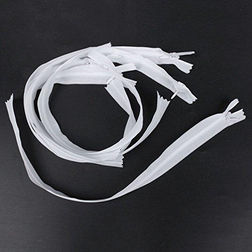 Fanuse 6pcs/Lot Cremallera Invisible CojíN Trasero Falda Nylon Oculto Cremallera para Costura/Accesorios De Ropa Bricolaje (Blanco) Largo 40 Cm Modelo 3#