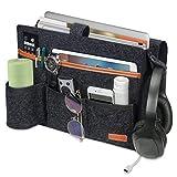 SIMBOOM Bolsillo Cama Organizador, Fieltro Bolsa de Almacenamiento con 7 Bolsillos para sofá, Teléfono, Libro, Remoto, Magzine, iPad, Gafas - Gris Oscuro