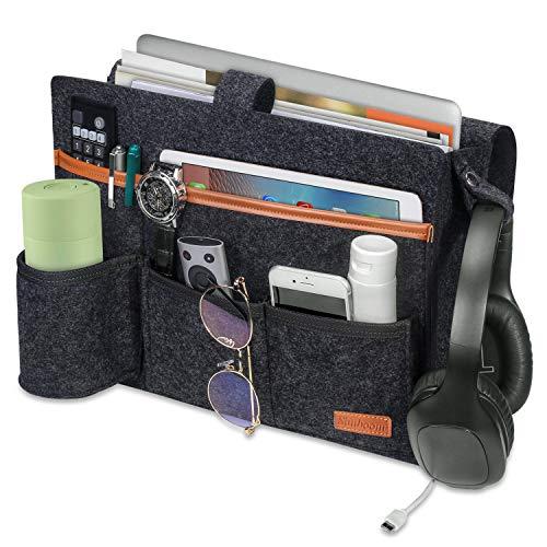 SIMBOOM Sängorganisatör sängväska filt förvaring bok tidskrifter hållare med flaskhållare för vardagsrum sovsal soffa våningssäng – mörkgrå