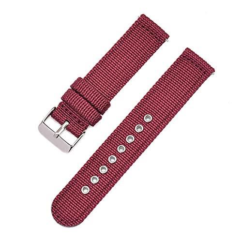 ZXF Correa de Reloj, 18 20 mm 22 mm 24 mm Reloj de Reloj de Reloj de Nylon 42mm 46mm Correa de Banda de liberación rápida (Band Color : Wine Red, Band Width : 18mm)