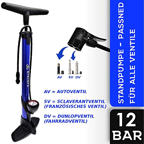 BYKLISTA® Fahrradpumpe Standpumpe + Gratis eBook – Luftpumpe Fahrrad alle Ventile, großes Manometer 12 Bar – hochwertige universal Fahrradluftpumpe – Standluftpumpe mit extra Ventiladapter