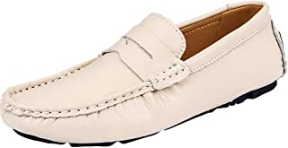 Dongxiong Simple and classic driving loafer man mat snug weakening napus slip Ragusoru simulated leather on a low-top vegan boat shoes Round Toe slip (Color : Khaki, Size : 47 EU)