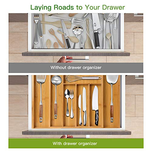 Bamboo Expandable Drawer Organizer for Utensils Holder, Adjustable Cutlery Tray, Wood Drawer Dividers Organizer for Silverware, Flatware, Knives in Kitchen, Bedroom, Living Room by Pipishell