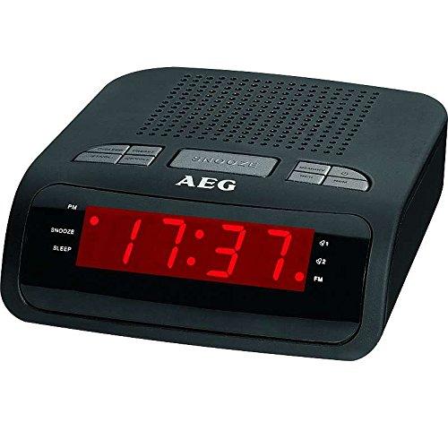 AEG Uhrenradio mit Wecker und Snoozetaste PLL Radio Radiowecker LED Anzeige (2 Weckzeiten, 10 Speicherstationen, Uhrzeitgangreserve bei Netzausfall)