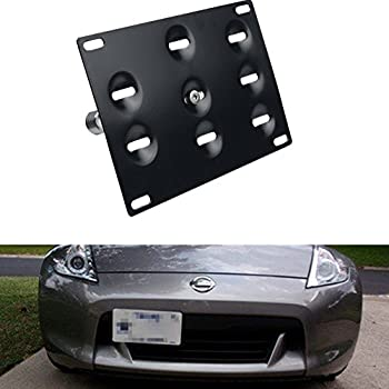 Dewhel JDM Front Bumper Tow Hook License Plate Mount Bracket Holder Tow Hole Adapter Bolt On for Nissan 370Z Juke GT-R Infiniti G37/Q60 Coupe