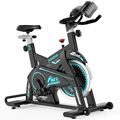 Afully Indoor Cycling Bike, Exercise Bikes Magnetic Resistance Stationary Bike, Belt Drive Indoor Bike with Pad/Phone Mount for Home Cardio Workout (Sky Blue)