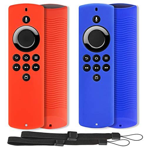 2 cover compatibili con Alexa Voice Remote Lite, Pinowu custodia per telecomando antiscivolo con cordino, adatto per Amazon Fire TV Stick Lite (versione 2020) – (blu e rosso)