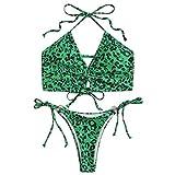 GOKOMO Damen Leopard Spaghettiträger Tanga Bikini...