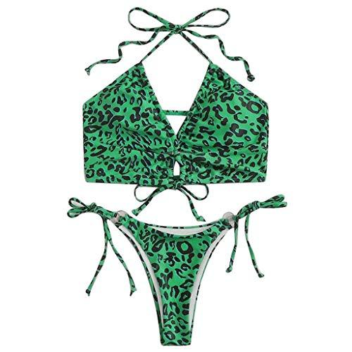 GOKOMO Damen Leopard Spaghettiträger Tanga Bikini Set Badeanzug Bustier Hohe Taille Bikinislip Badeanzug Bademode(Grün,Small)