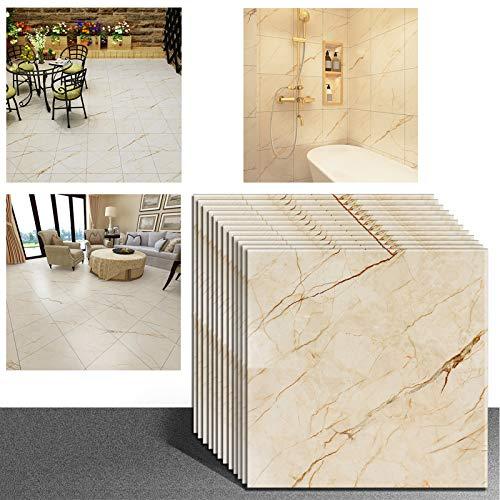 VEELIKE - Vinilo adhesivo con diseño de baldosas de mármol para el suelo, entrepaño, pared, cocina o baño, protector impermeable, autoadhesivo