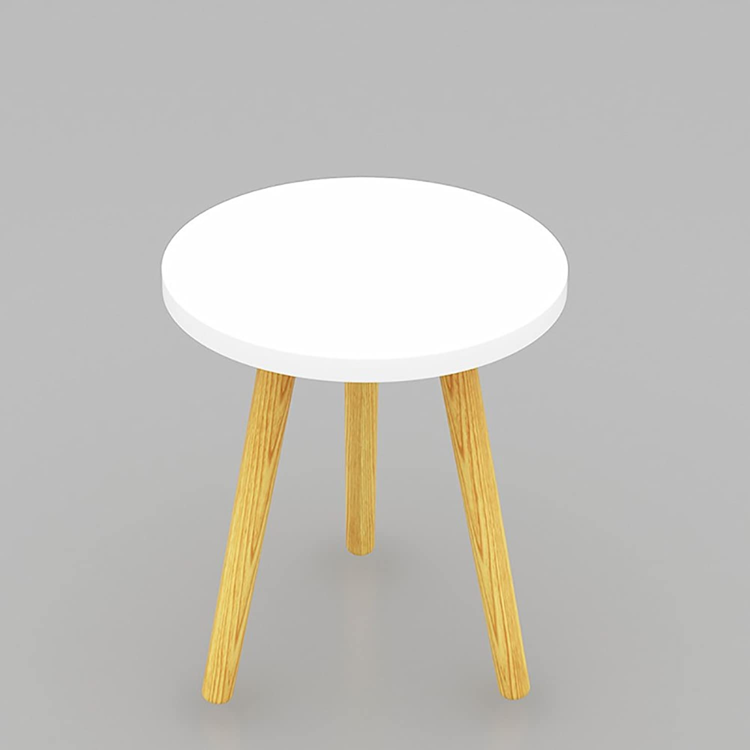 Solid Wood Waterproof Side Table, Round Living Room Sofa Table Coffee Table Bedroom Night Table Vintage Telephone Table-White L40xW40xH42.5cm