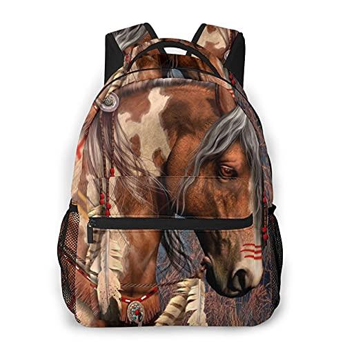 Mochila de impresión animal de caballo marrón impresión portátil impermeable antirrobo casual mochila bolsa USB puerto de carga mochila unisex