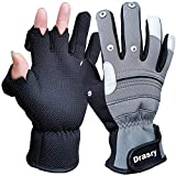 Drasry Neoprene Touchscreen Ice Fishing Gloves Winter Cold Weather Windproof Warm 3 Cut Fingers Fish Glove for Men and Women Great for Fly Fishing Photography Running Motorcycling (Gray-Black, XL)