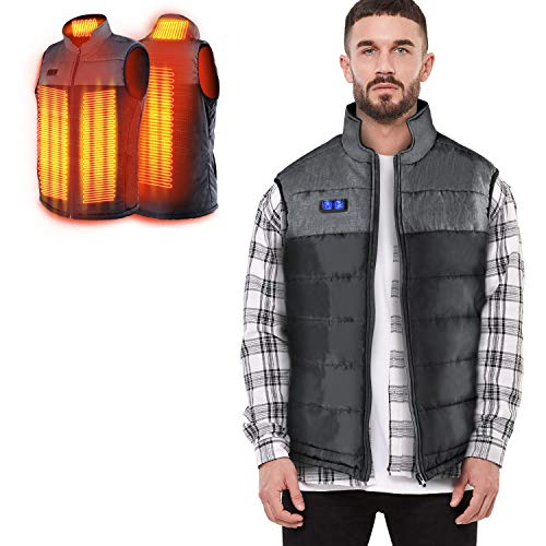 Heated Vest for Man/Woman, Electric Heating Coat USB Heating, Dual Independent Temperature Control, Extra Collar Heated Hiking, Ice Skating for Heated Jacket/Sweater/Thermal Underwear(Black Gray, XL)