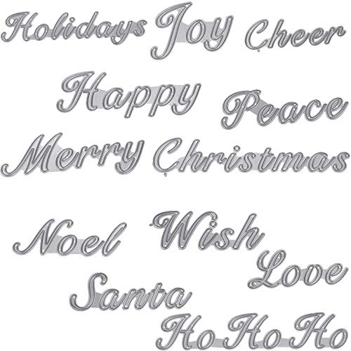 12 Pieces Christmas Words Cutting Dies Set Holiday Sentiments Metal Stencil Template Merry Christmas Greeting Words Dies Cuts for Christmas DIY Craft Scrapbooking Card Making