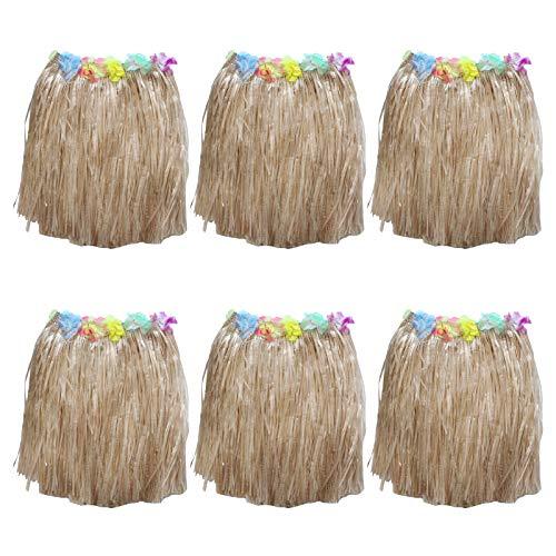 Kurtzy Hula Gonna (6 Pezzi) - (41cm Lungo) Oro Hawaiana Erba Gonna con Fascia Elastica in Vita, Seta lei Fiori per Festa in Costume, Compleanni, Spiaggia Celebrazione