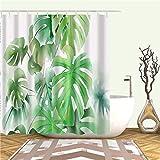 XCBN Pianta Verde tropicale Cactus Monstera Foglie di Palma Foglie Tende da doccia Tende da bagno Tende impermeabili A3 180x180cm