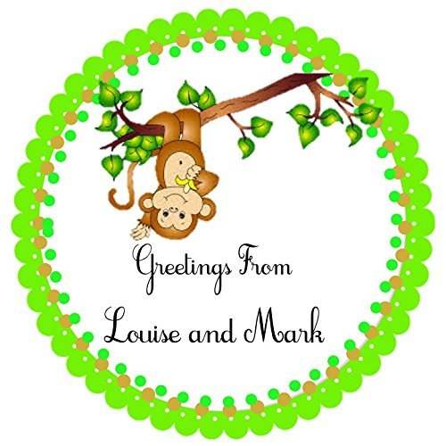 "40 Personalized labels, Little Monkey, 2"" Round Custom Labels, Baby Shower Theme Party Stickers, Hangtags, Cupcakes Toppers, Gift Tags - Choice of Size"
