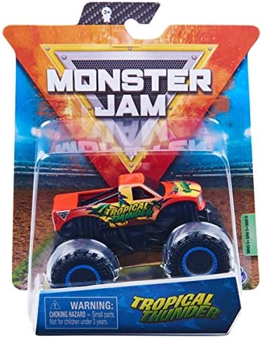 Monster Jam, Official Tropical Thunder Monster Truck, Die-Cast Vehicle, Forces of Nature Series, 1:64 Scale