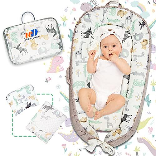 Wndy's Dream Babynest nido de bebé con almohadas y colchonetas, cuna de viaje nido de algodón 100% para bebés bebés 95x55 cm inserto extraíble (0-12 meses)