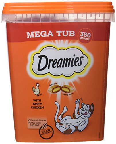 Dreamies -Golosinas para gatos, sabor: Pollo MegaTub, 350 g (Pack of 2)