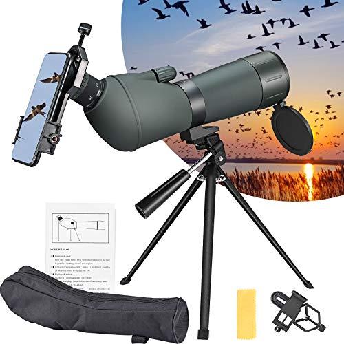 TELAM 25-75x75 Cannocchiale con treppiede, cannocchiale Zoom Anti-Appannamento Impermeabile, Borsa da Trasporto e Adattatore per Smartphone per tiro al Bersaglio, Caccia, Birdwatching