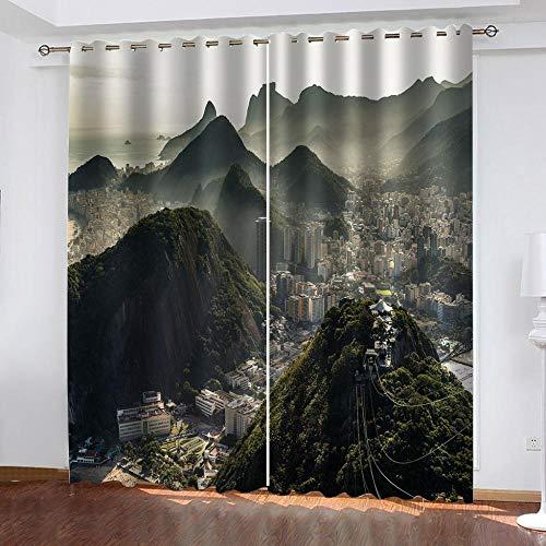 BTBDWOSQ® Cortinas opacas 3D para ventana, diseño de arquitectura alpina, con impresión digital, para guardería, sala de estar, dormitorio, aislamiento acústico