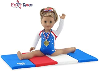 Emily Rose 18 Inch Doll Clothes for American Girl Dolls | Team USA 4 Piece Doll Gymnastics Set, Including Realistic Olympic Gold Medal! | Fits 18