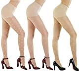 Women's Patterned Footed Tights Pantyhose 3pair or 2pair (One Size : XS to M, 20Denier Sheer Skin Beige 3Pair)